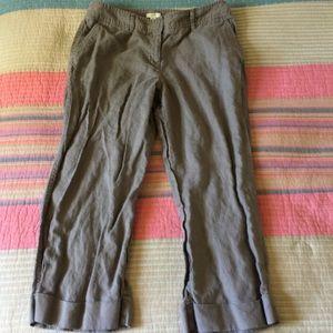 J. JILL 8 Petite Linen Olive Green Capri Crop Pant